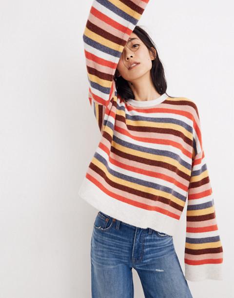 Cardiff Striped Crewneck Sweater in Coziest Yarn in heather platinum image 2