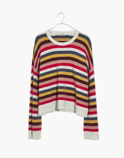 Cardiff Striped Crewneck Sweater in Coziest Yarn in heather platinum image 4
