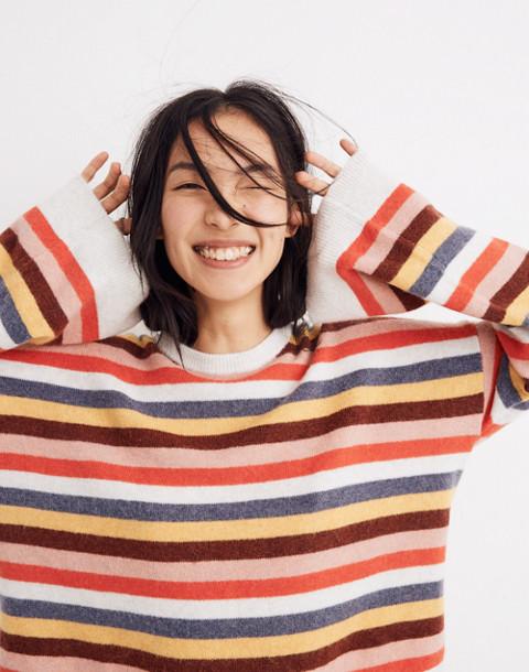 Cardiff Striped Crewneck Sweater in Coziest Yarn in heather platinum image 1