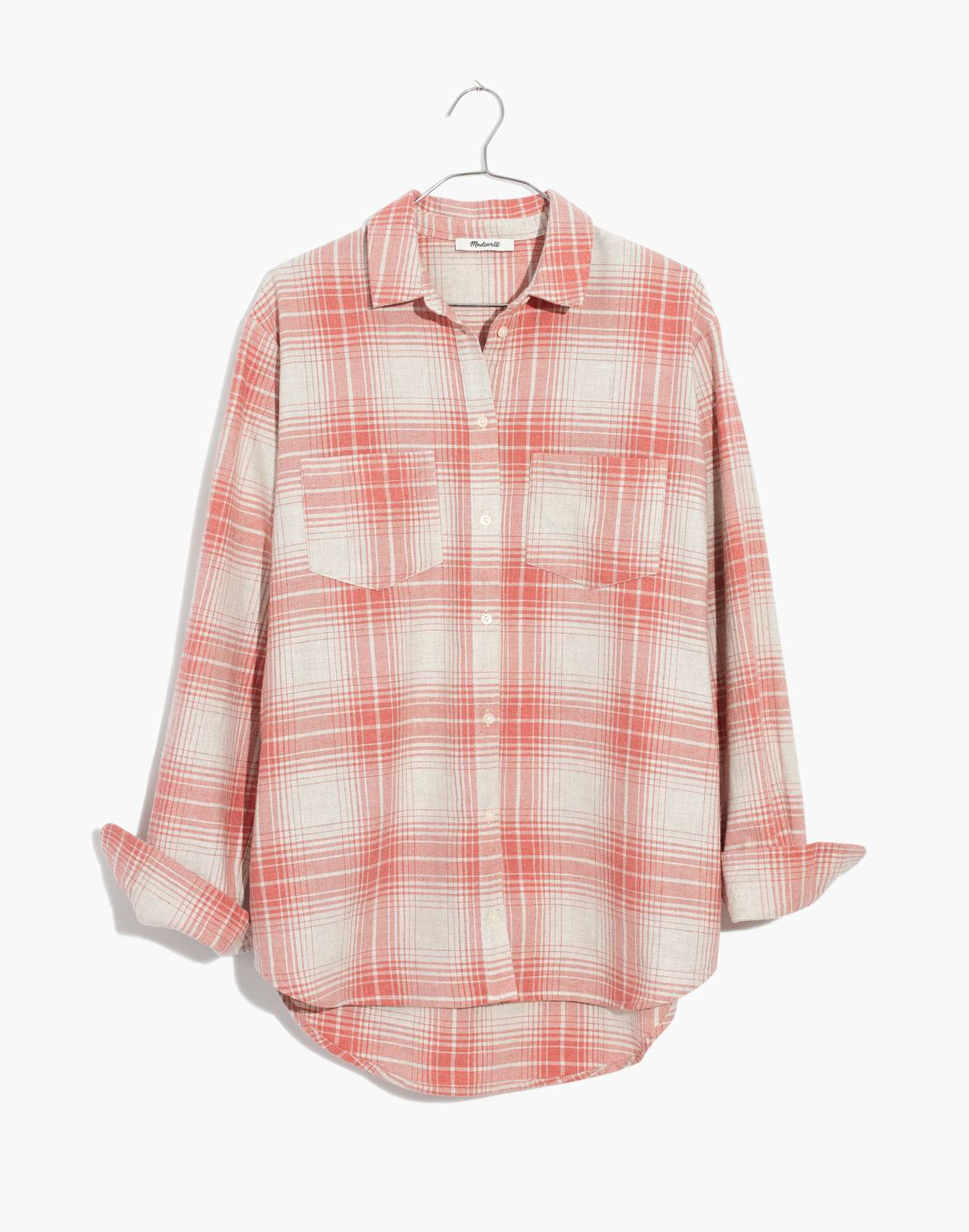 Flannel Sunday Shirt in Pink Plaid in harris plaid red as per image 4