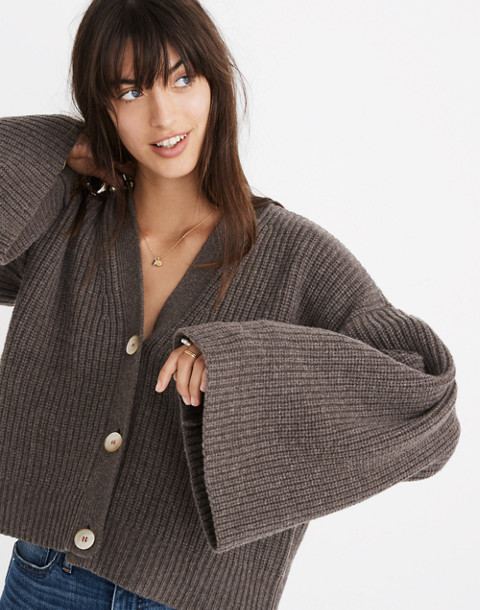Wide-Sleeve Crop Cardigan Sweater in heather mocha image 2