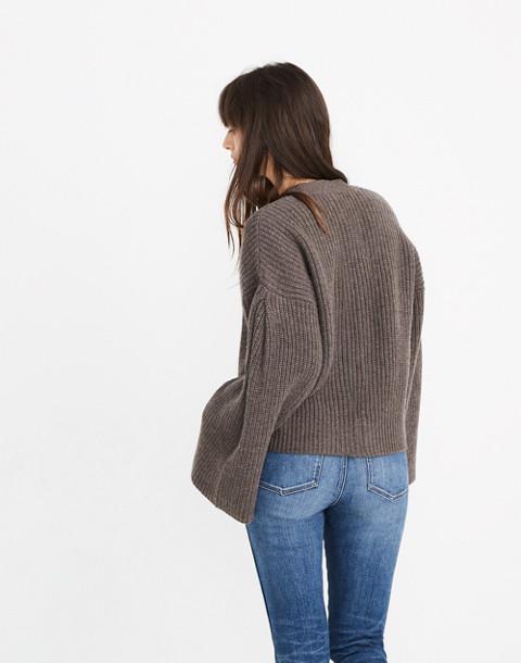 Wide-Sleeve Crop Cardigan Sweater in heather mocha image 3