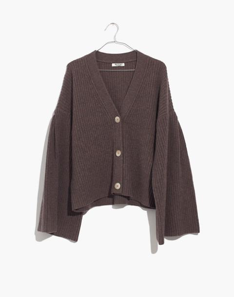 Wide-Sleeve Crop Cardigan Sweater in heather mocha image 4