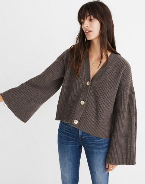 Wide-Sleeve Crop Cardigan Sweater in heather mocha image 1