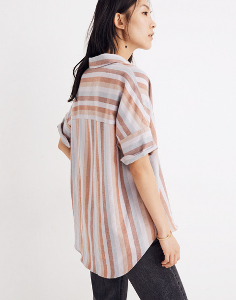 Flannel Courier Shirt in Sunrise Stripe in christina stripe thistle image 3