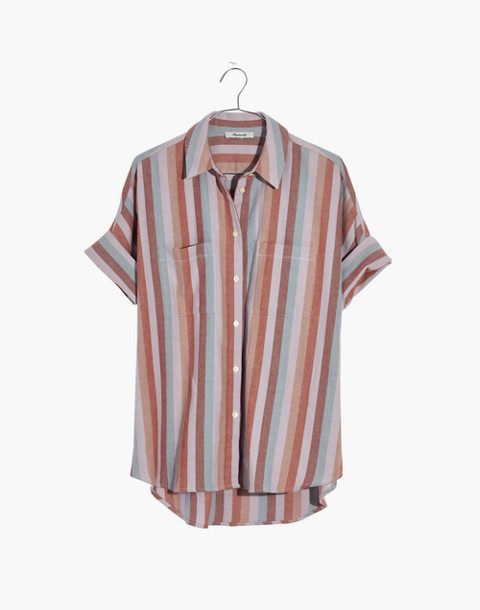 Flannel Courier Shirt in Sunrise Stripe in christina stripe thistle image 4