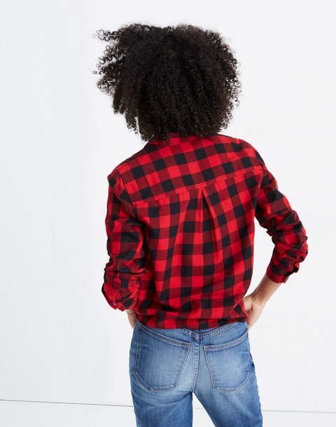 Flannel Tie-Front Shirt in Buffalo Check in sasha buffalo cranberry image 3