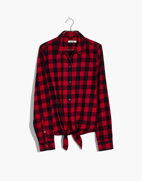 Flannel Tie-Front Shirt in Buffalo Check in sasha buffalo cranberry image 4
