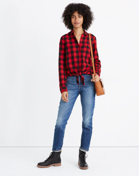 Flannel Tie-Front Shirt in Buffalo Check in sasha buffalo cranberry image 1