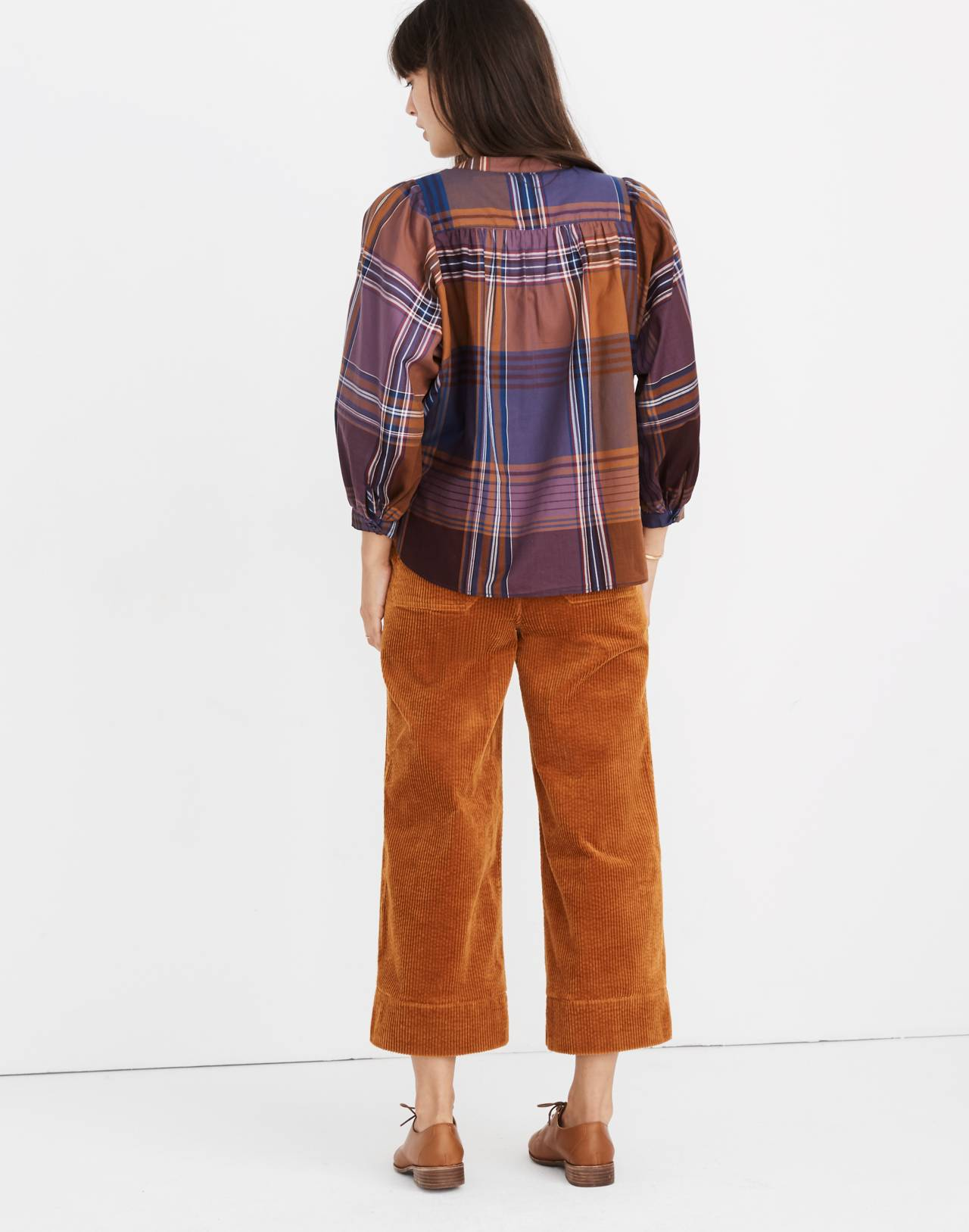 Plaid Peasant Top in beacon faded eggplant image 2