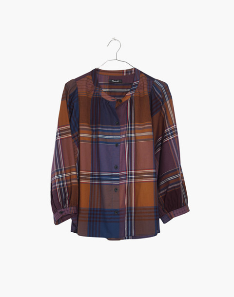 Plaid Peasant Top in beacon faded eggplant image 4