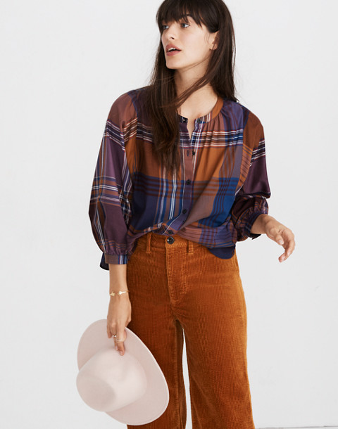 Plaid Peasant Top in beacon faded eggplant image 1