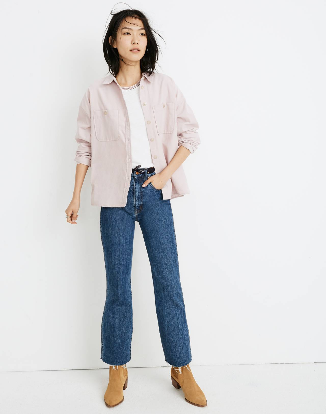Corduroy Shirt-Jacket in wisteria dove image 2