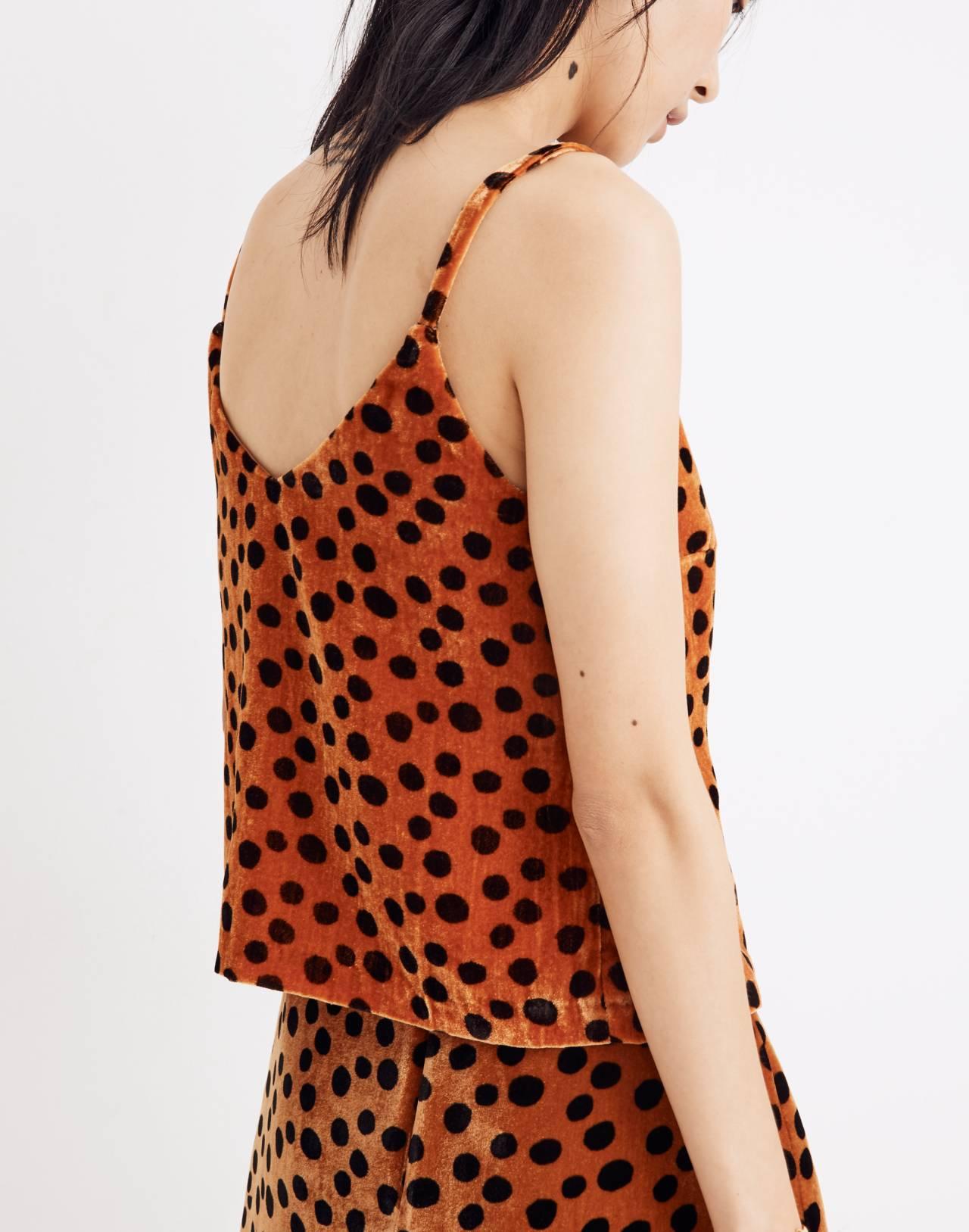 Velvet Button-Front Cami in Leopard Dot in leopard dot burnt sienna image 3