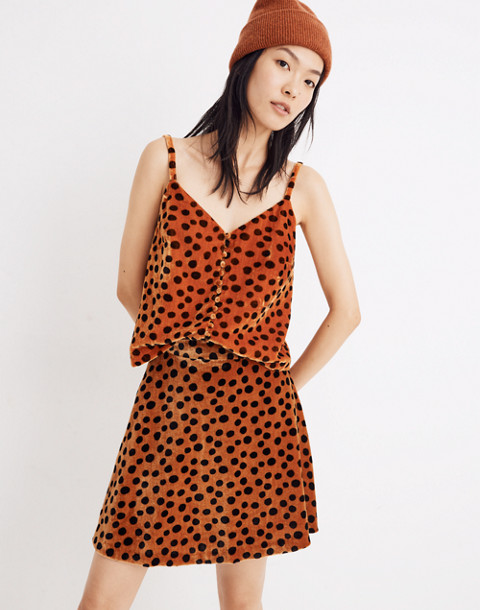Velvet Button-Front Cami in Leopard Dot in leopard dot burnt sienna image 1