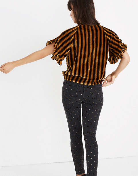 Velvet Memento Ruffle-Sleeve Top in Stripe in rich plum image 3