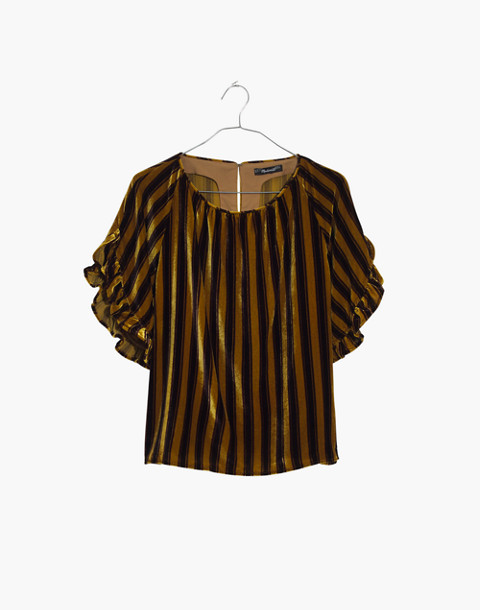 Velvet Memento Ruffle-Sleeve Top in Stripe in rich plum image 4