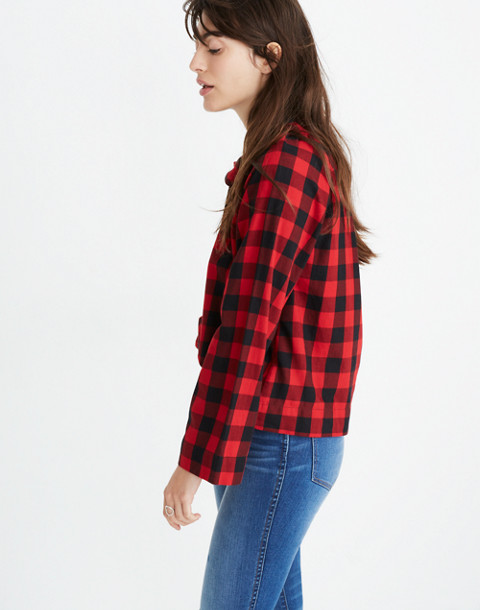 Tie-Neck Popover Shirt in Buffalo Check in sasha buffalo cranberry image 2