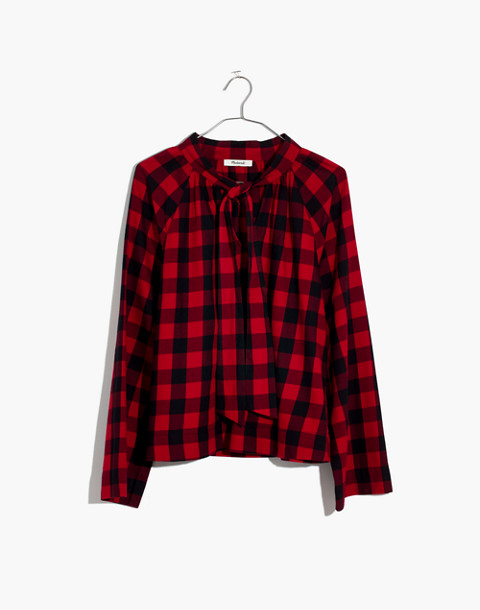 Tie-Neck Popover Shirt in Buffalo Check in sasha buffalo cranberry image 4