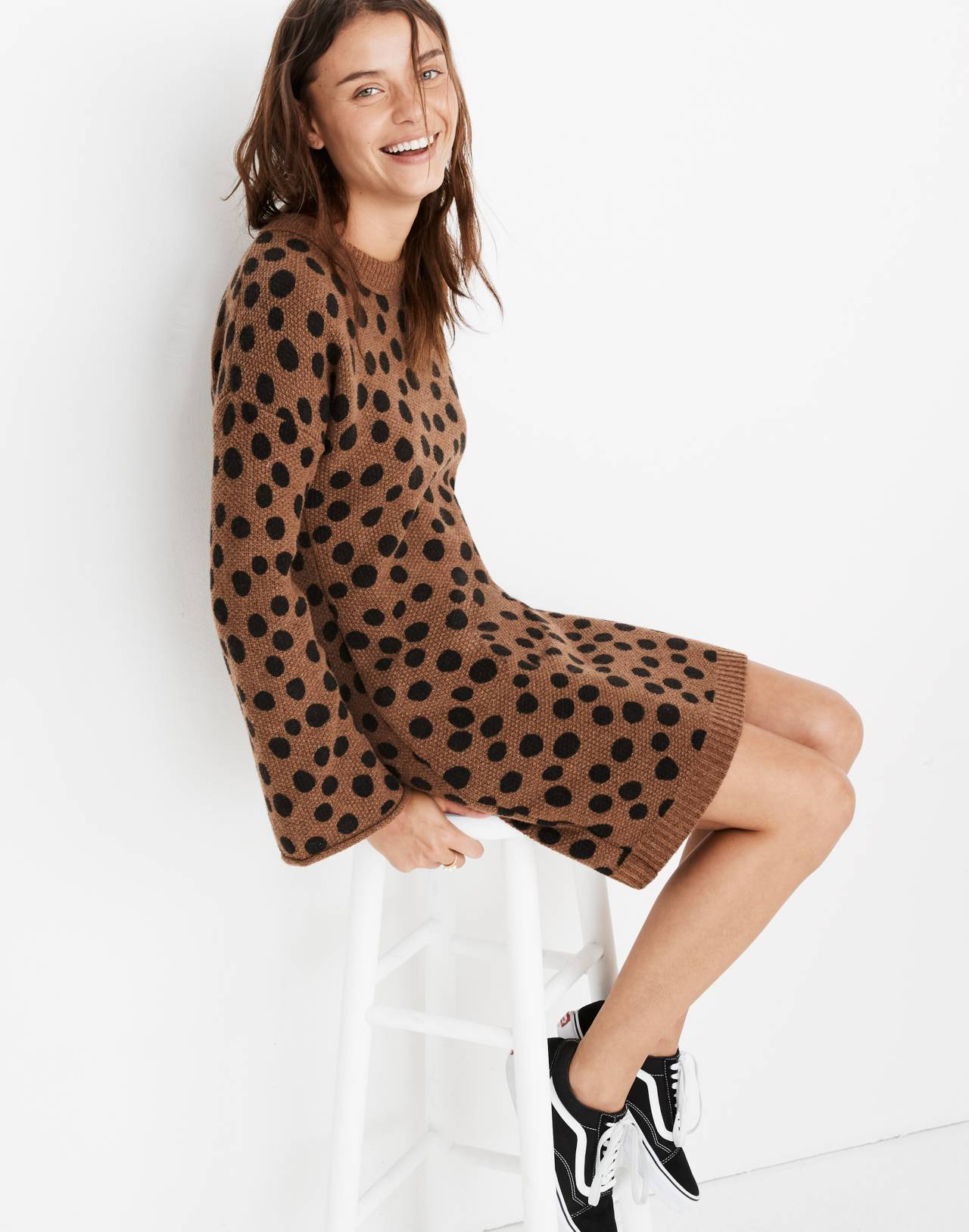 Leopard Dot Sweater-Dress in heather reindeer image 2