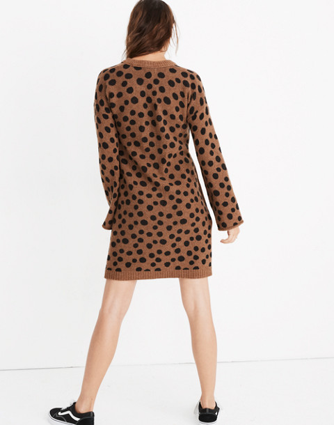 Leopard Dot Sweater-Dress in heather reindeer image 3