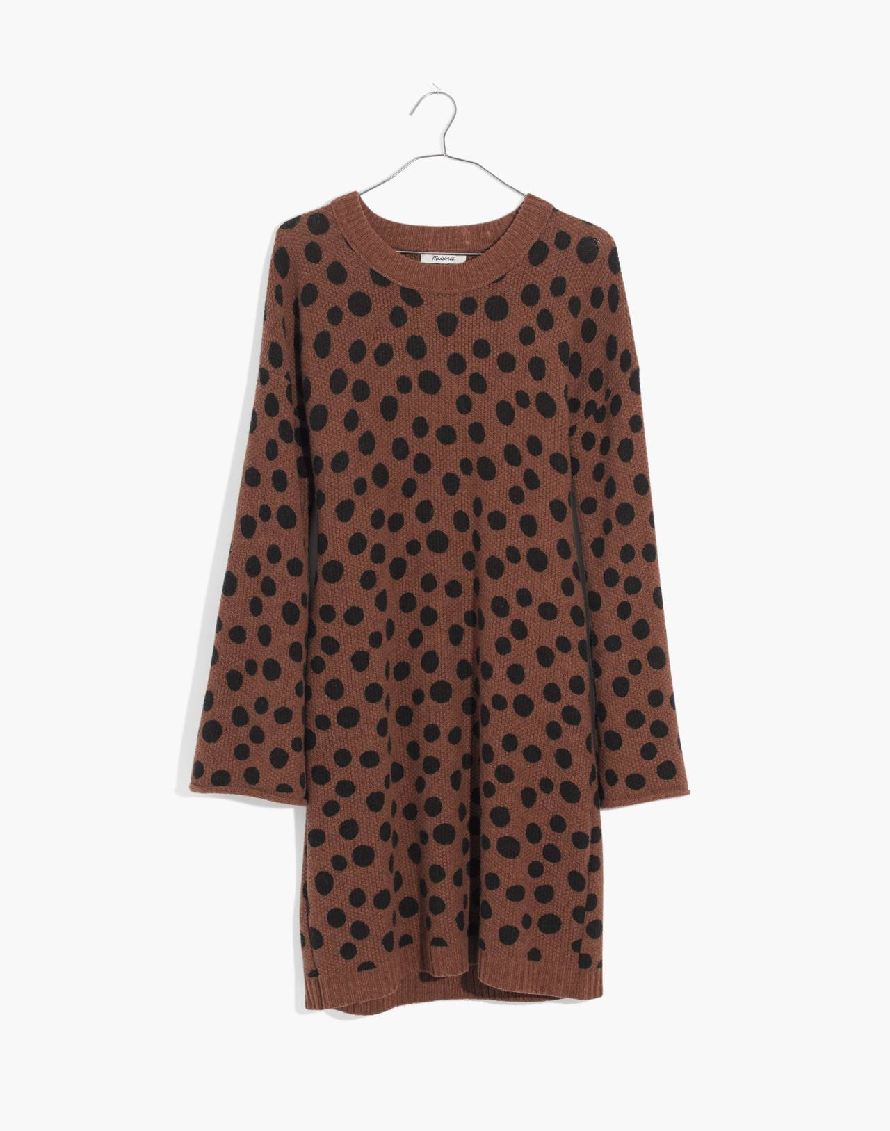 Leopard Dot Sweater-Dress in heather reindeer image 4