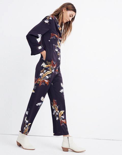 Satin Pajama Jumpsuit in Blooming Oasis in harvest dark eggplant image 2