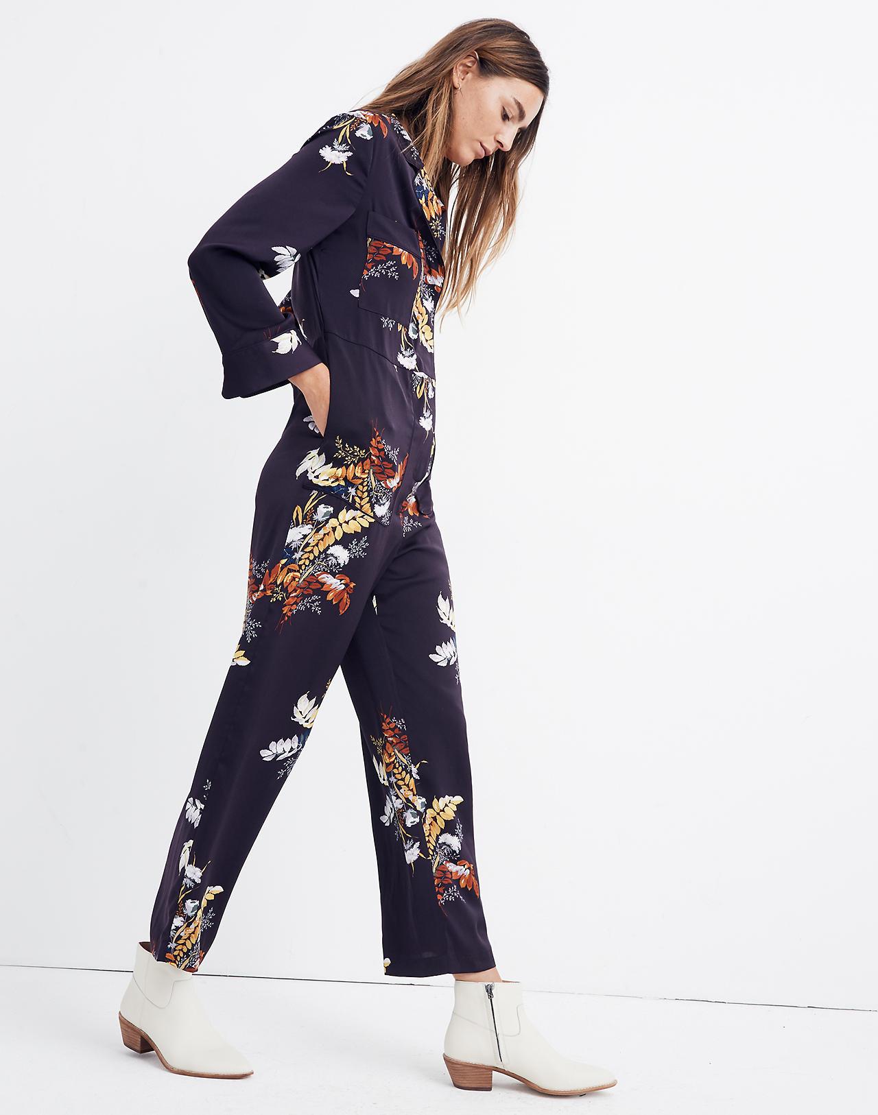 4093d8950201 Satin Pajama Jumpsuit in Blooming Oasis in harvest dark eggplant image 2