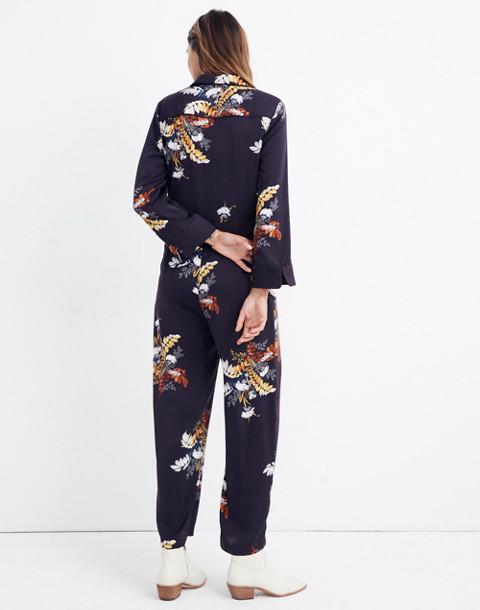 Satin Pajama Jumpsuit in Blooming Oasis in harvest dark eggplant image 3