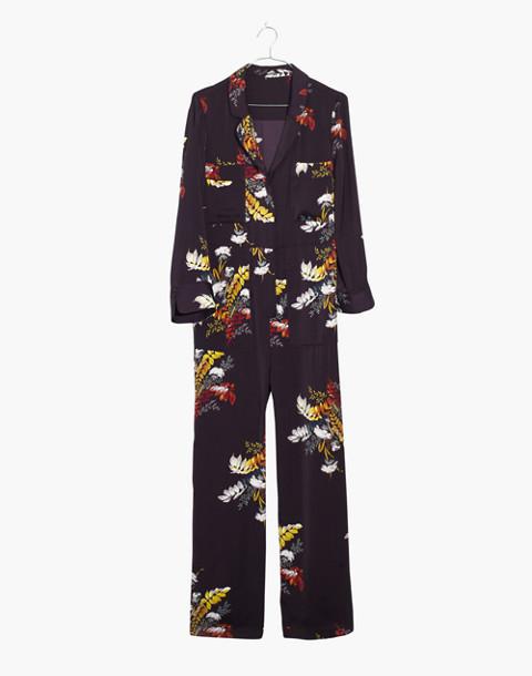 Satin Pajama Jumpsuit in Blooming Oasis in harvest dark eggplant image 4
