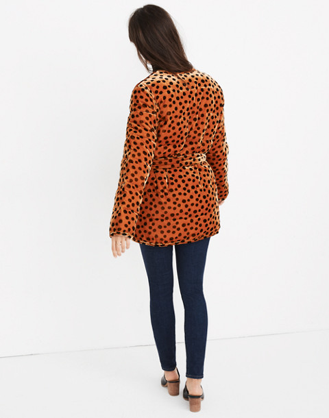 Velvet Quilted Kimono Jacket in Leopard Dot in leopard dot burnt sienna image 2