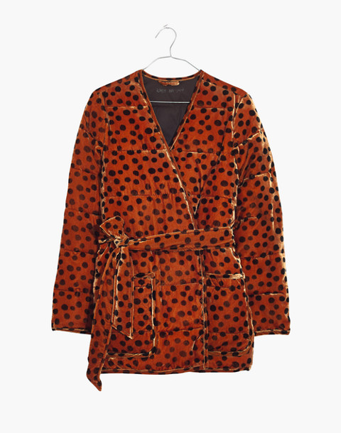 Velvet Quilted Kimono Jacket in Leopard Dot in leopard dot burnt sienna image 4