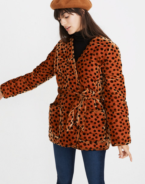 Velvet Quilted Kimono Jacket in Leopard Dot in leopard dot burnt sienna image 1