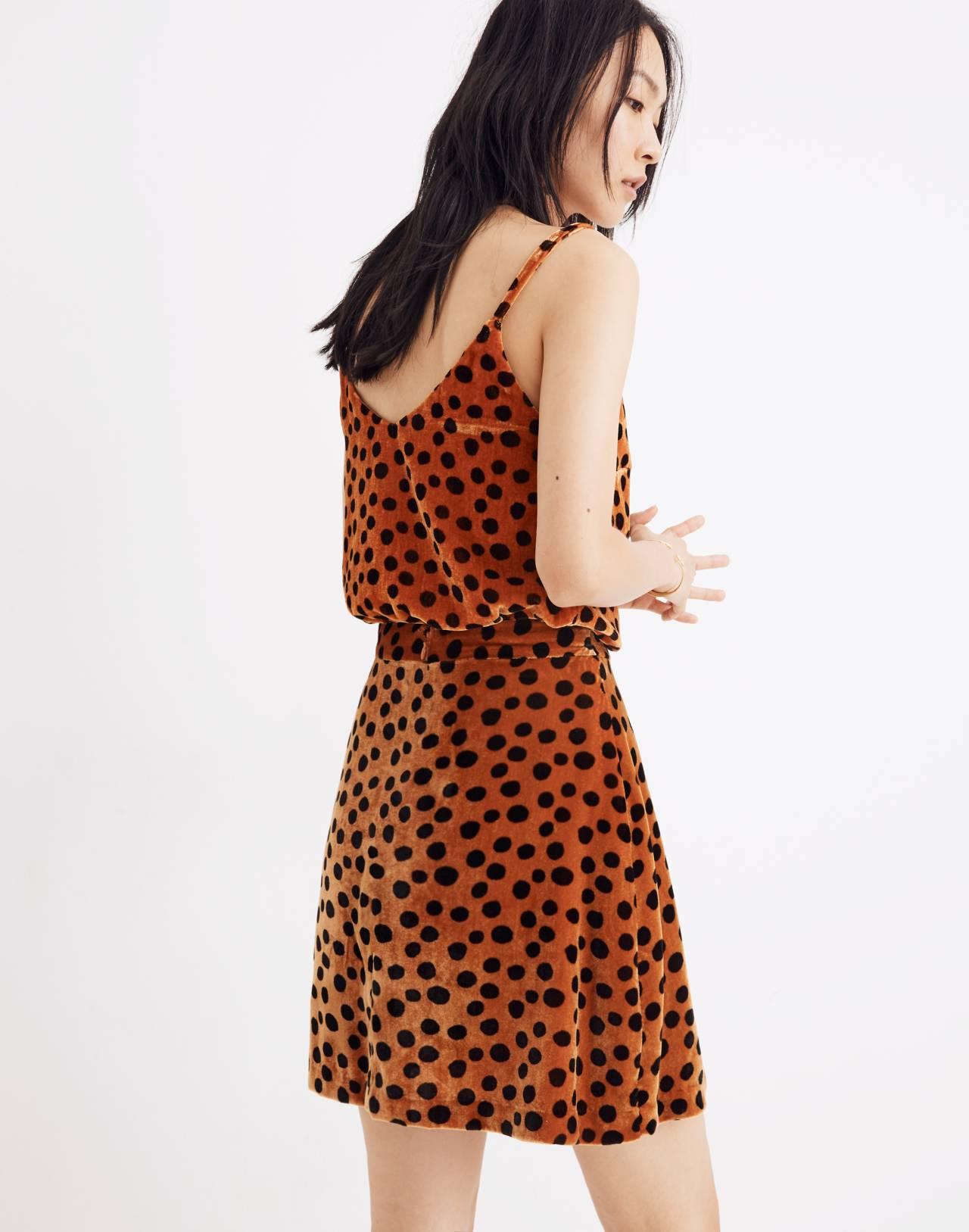 Velvet Circle Mini Skirt in Leopard Dot in leopard dot burnt sienna image 3