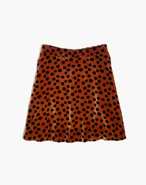 Velvet Circle Mini Skirt in Leopard Dot in leopard dot burnt sienna image 4