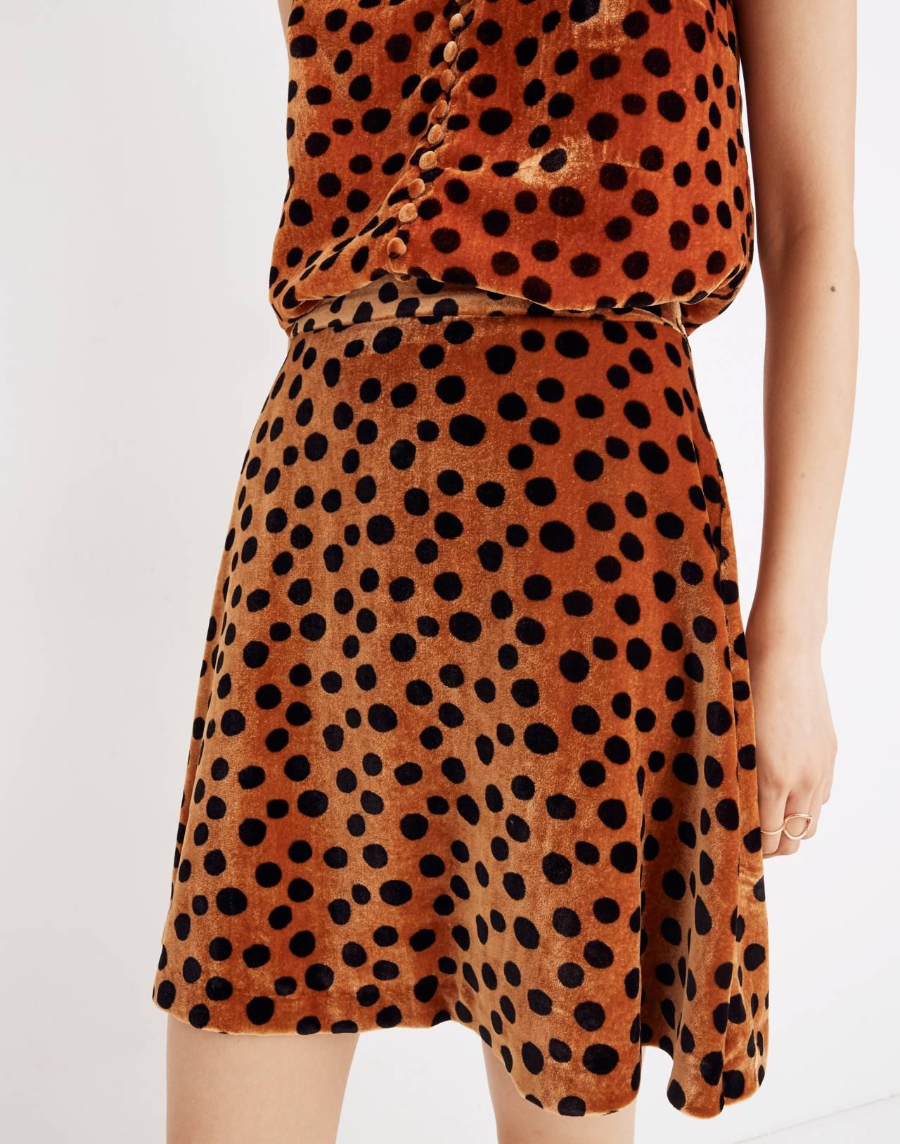 Velvet Circle Mini Skirt in Leopard Dot in leopard dot burnt sienna image 1