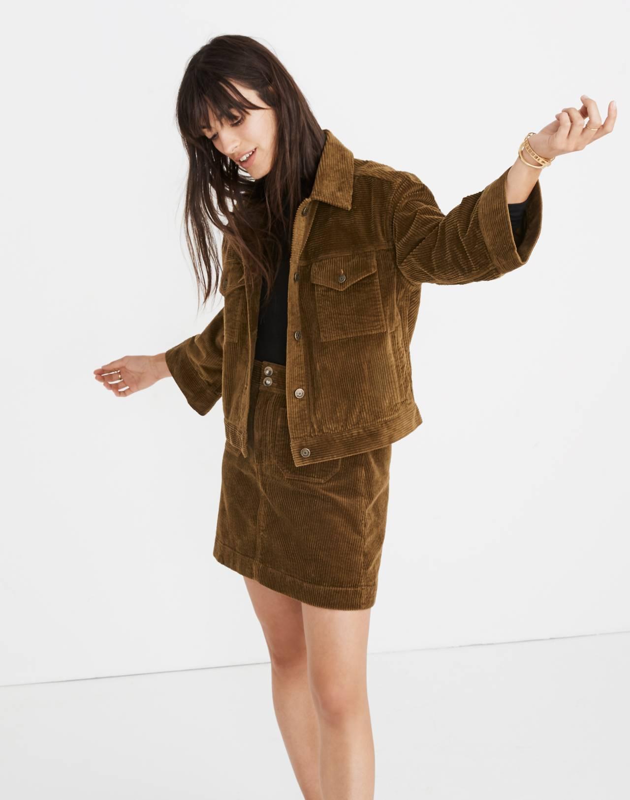 Corduroy A-Line Mini Skirt in asparagus image 2