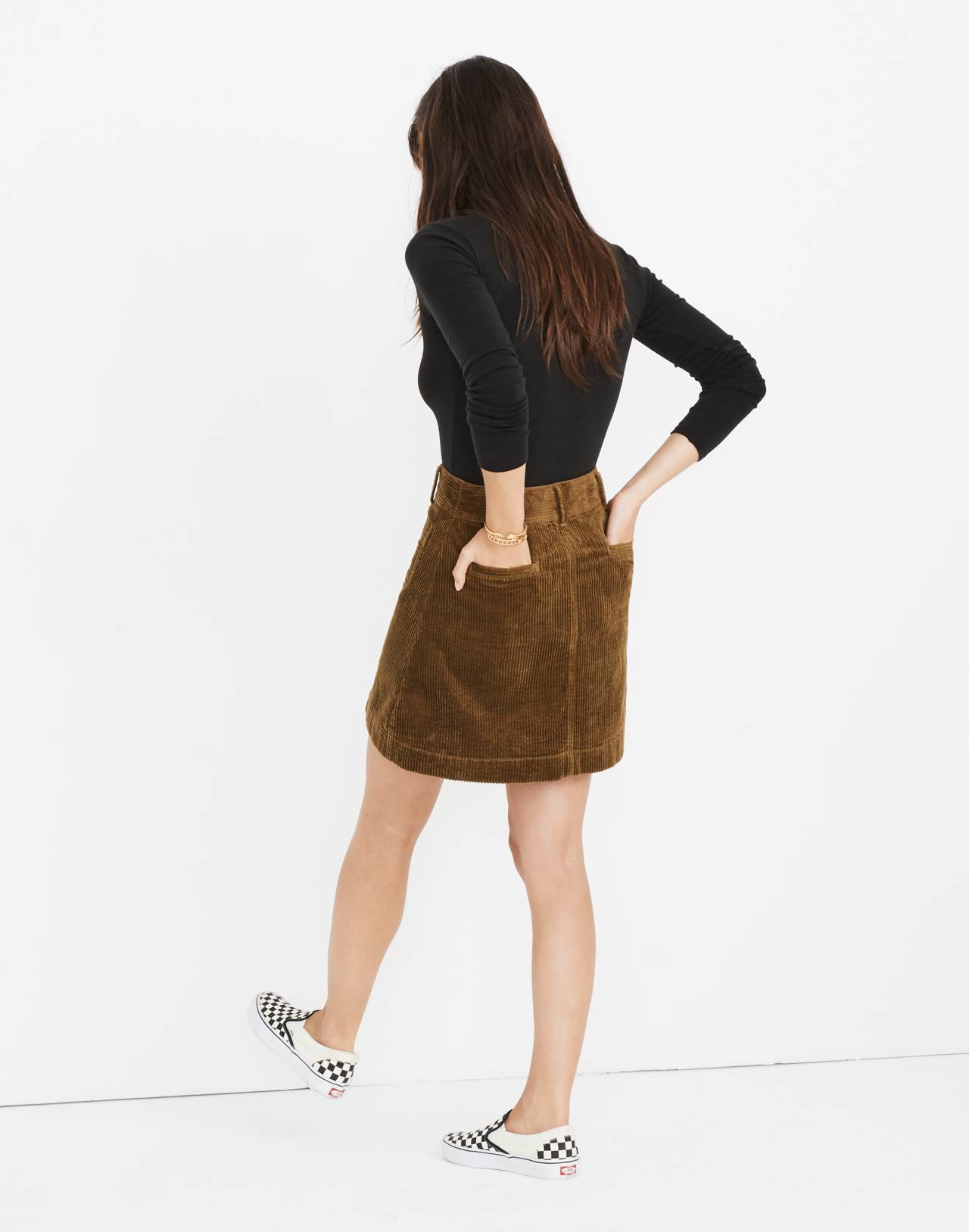 Corduroy A-Line Mini Skirt in asparagus image 3