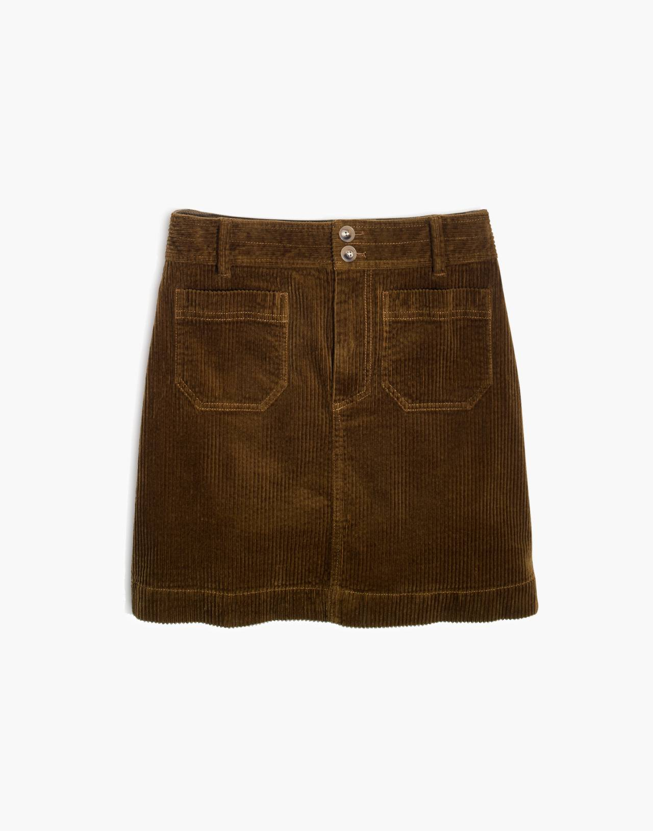 Corduroy A-Line Mini Skirt in asparagus image 4