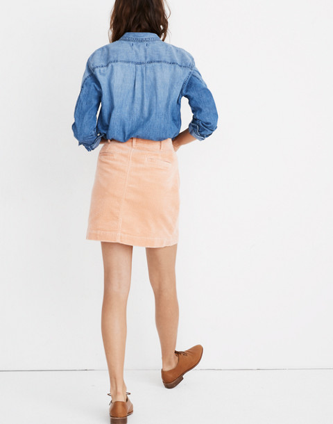Corduroy A-Line Mini Skirt in tinted blush image 2