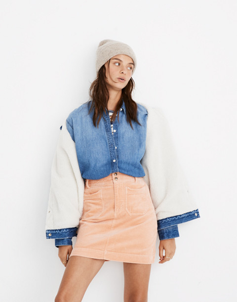 Corduroy A-Line Mini Skirt in tinted blush image 1
