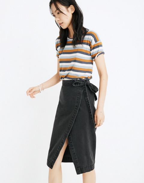 Denim Midi Wrap Skirt in Lunar Wash in lunar wash image 2