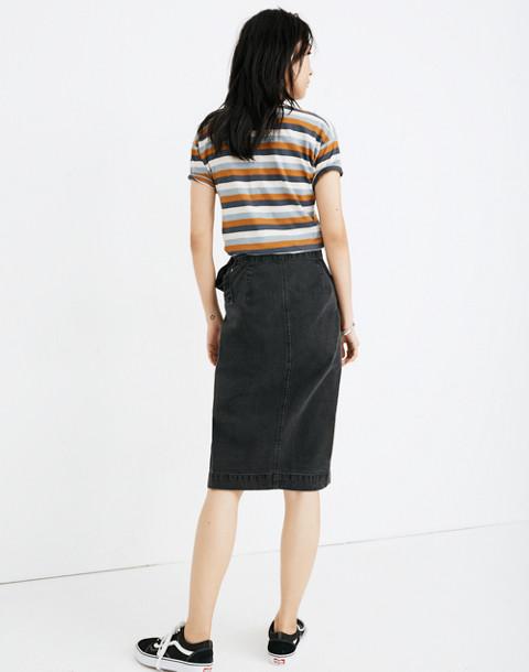 Denim Midi Wrap Skirt in Lunar Wash in lunar wash image 3