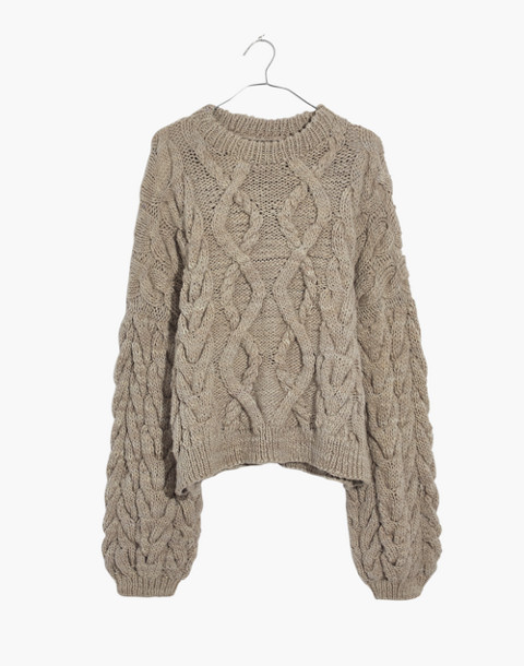 Madewell x Manos del Uruguay™ Cableknit Pullover in putty image 1