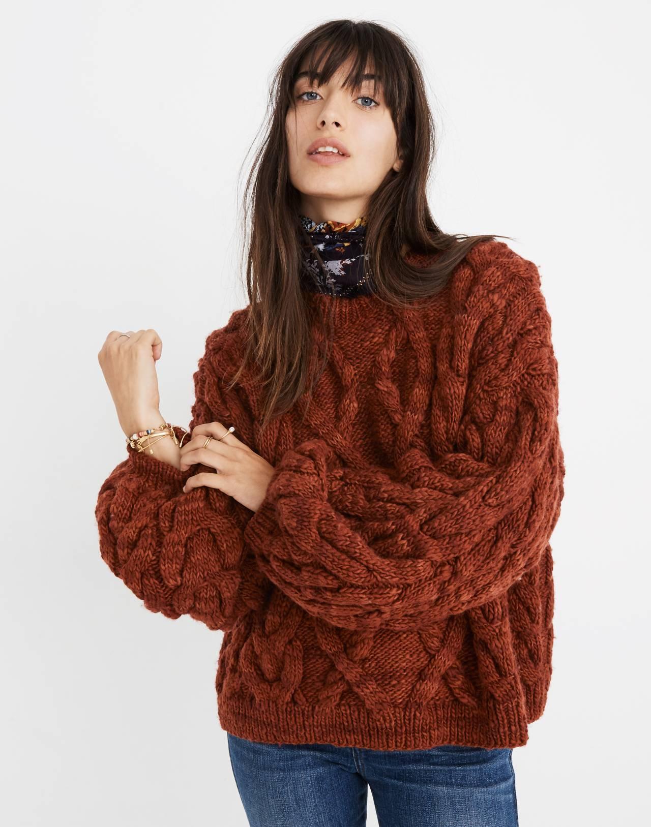 Madewell x Manos del Uruguay™ Cableknit Pullover in cinnamon image 2