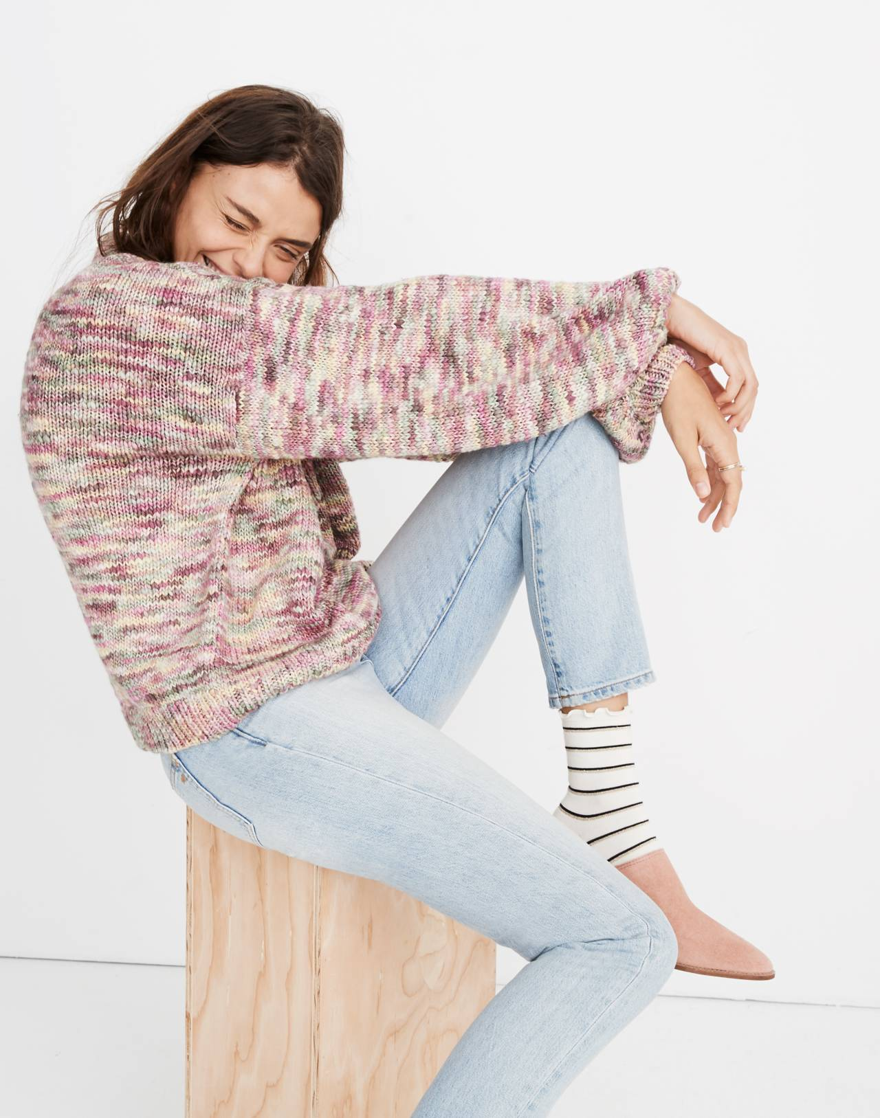 Madewell x Manos del Uruguay™ Space-Dyed Pullover Sweater in pink space image 2