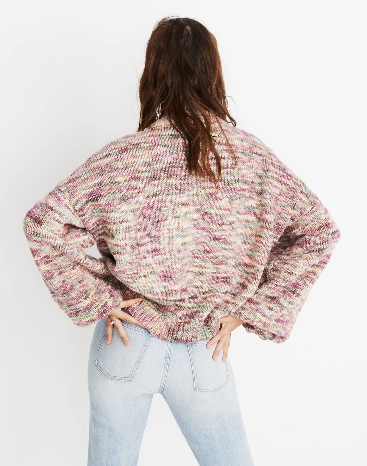 Madewell x Manos del Uruguay™ Space-Dyed Pullover Sweater in pink space image 3