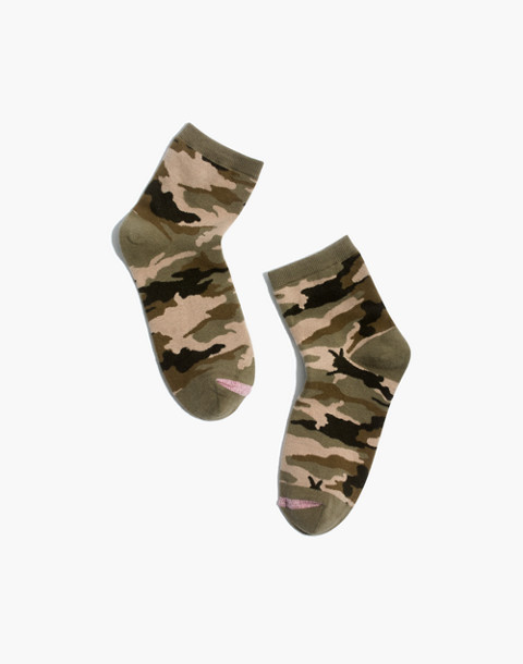 Cottontail Camo Ankle Socks in dried rosebud image 1