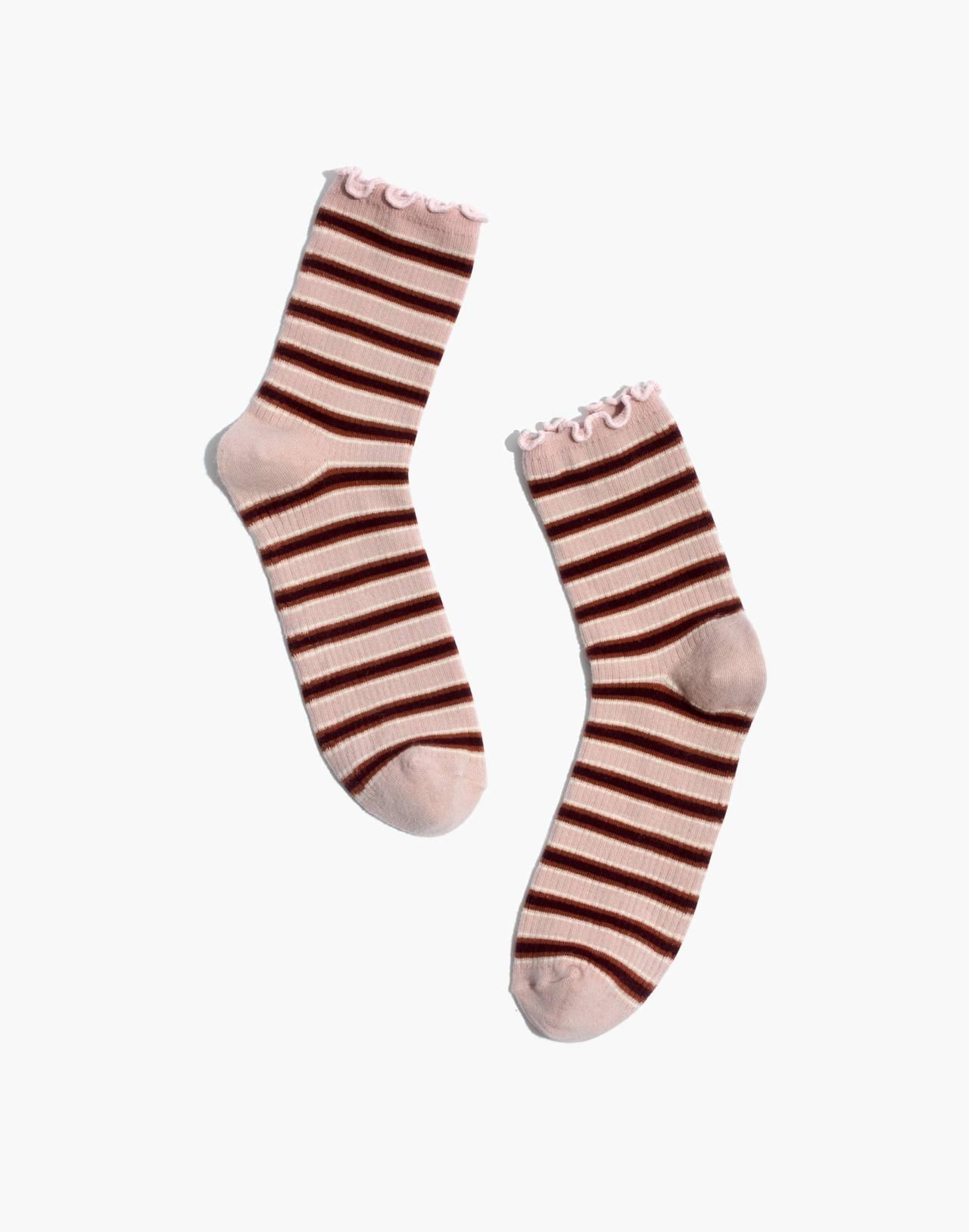 Diagonal Striped Ruffle-Edge Ankle Socks in wisteria dove multi image 1