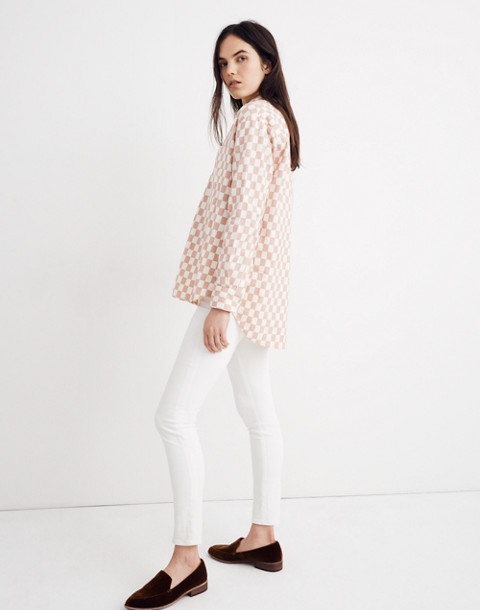 Flannel Oversized Ex-Boyfriend Shirt in Checkerboard in medium checker pale oyster image 2